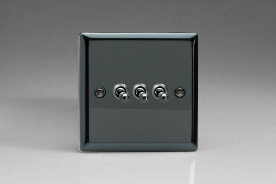 VARILIGHT Lighting - 3 GANG (TRIPLE), 1 OR 2 WAY 10 AMP CLASSIC TOGGLE SWITCH IRIDIUM BLACK - XIT3