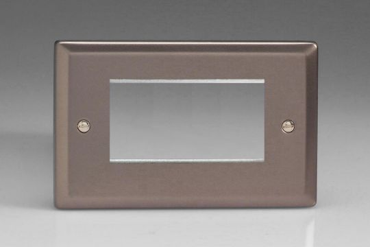 VARILIGHT Lighting - DOUBLE SIZE DATA GRID FACE PLATE FOR 3 OR 4 DATA MODULE WIDTH PEWTER (DOUBLE PLATE) - XRG4