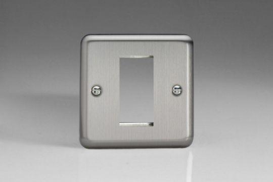 VARILIGHT Lighting - SINGLE SIZE DATA GRID FACE PLATE FOR 1 DATA MODULE WIDTH BRUSHED STEEL (AKA MATT CHROME) - XSG1