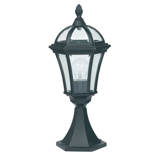 Endon Yg-3502 - Drayton Post Ip44 60W Textured Black Paint And Clear Glass Outdoor Floor Light