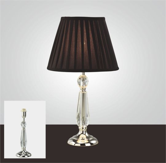Diyas IL11006 Zina Crystal Table Lamp Without Shade 1 Light Silver Finish
