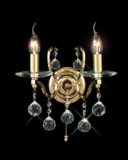 Diyas IL30222 Zinta Wall Lamp Switched 2 Light French Gold/Crystal
